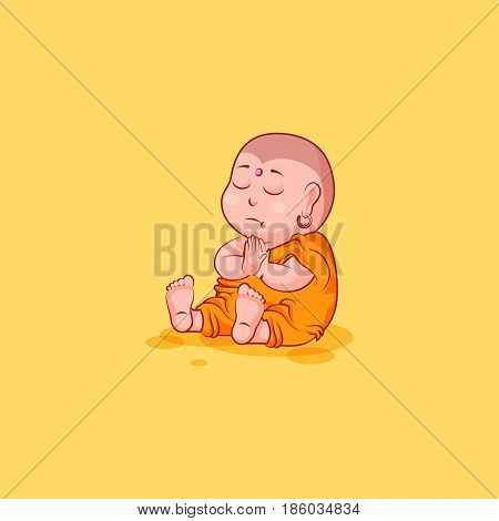 Sticker emoji emoticon emotion vector isolated illustration happy character cartoon Buddha sit meditate contemplation prayer sticker Buddhist monk kashaya yellow background for mobile app infographic