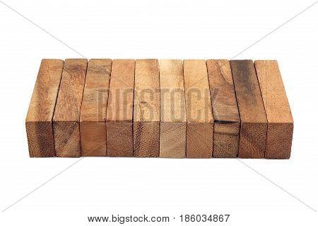 Blocks of wood isolated education Concep white background
