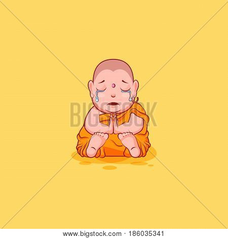 Sticker emoji emoticon emotion vector isolated illustration happy character sweet cute cartoon sad frustrated Buddha crying tears Buddhist monk saffron kashaya yellow background mobile app infographic.