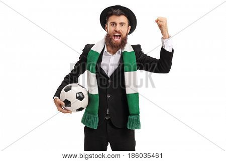 Euphoric football fan with a scarf cheering isolated on white background
