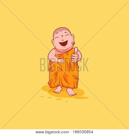 Sticker emoji emoticon emotion vector isolated illustration happy character sweet cute cartoon Buddha approves with thumb up Buddhist monk saffron kashaya yellow background for mobile app infographic.