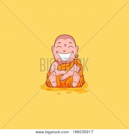 Sticker emoji emoticon emotion vector isolated illustration happy character sweet cute cartoon Buddha huge smile from ear to ear Buddhist monk saffron kashaya yellow background mobile app infographic.