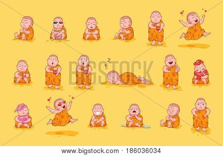 Set kit collection sticker emoji emoticon emotion vector isolated illustration happy character sweet cute little Buddha Buddhist monk wearing of saffron color kashaya yellow background for mobile app.