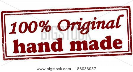 Stamp with text one hundred percent original hand made inside vector illustration