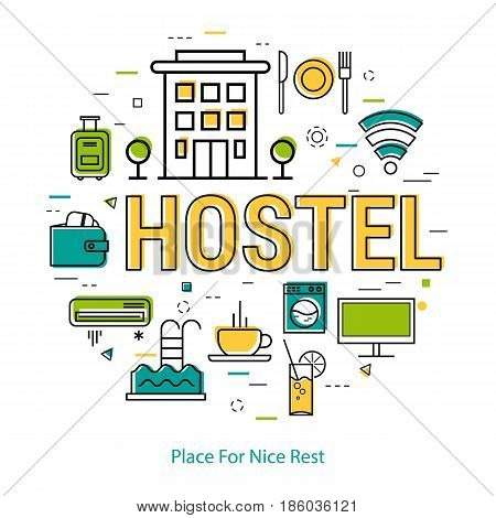 Vector round web banner of best hostel. Modern thin line icons in three colors. Big letters as caption and pictographs of building, coffee, payment and room accessories