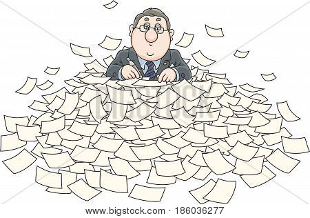Clerk at work with a pile of papers