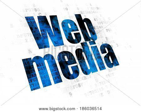 Web development concept: Pixelated blue text Web Media on Digital background