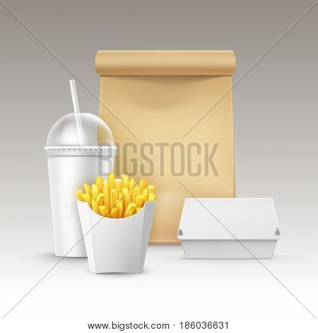 Vector Fast Food Set of Realistic Carton Hamburger Classic Burger Container Potatoes French Fries in White Package Box Blank Cardboard Cup for Drinks with Straw Craft Paper Take Away Handle Lunch Bag.