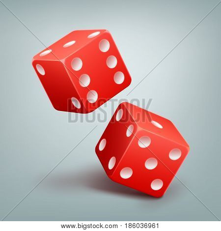 Two vector red casino falling dice with white dots isolated on background
