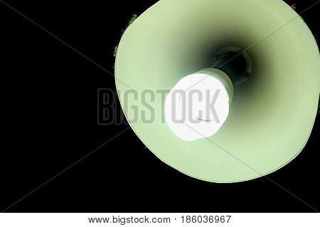 Energy saving Fluorescent Light Bulb on a black background (with clipping work path)