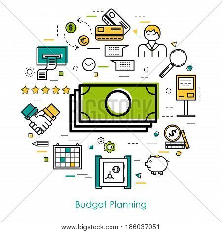 Vector round concept of money control, budget planning or accounting service in thin line style. Green banknotes and credit cards, banking equipment icons
