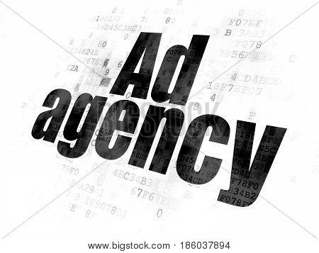 Advertising concept: Pixelated black text Ad Agency on Digital background
