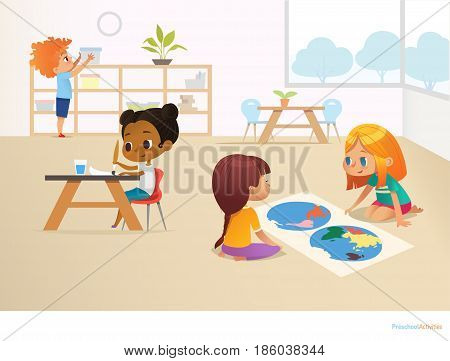 Multiracial children in Montessori classroom. Girls viewing world map and painting picture and boy taking container off shelf. Educational activities concept. Vector illustration for poster, website