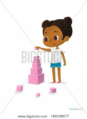 Black girl wearing T-shirt and blue shorts stands and builds tower using pink stacking cubes of different size. Visual identification of larger and smaller objects. Vector illustration for banner