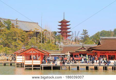 HIROSHIMA JAPAN - MARCH 19, 2017: Unidentified people visit Itsukushima shrine in Miyajima.