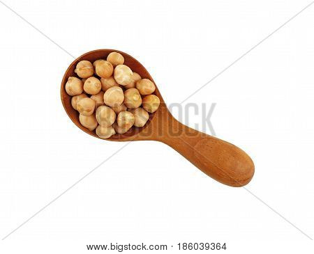 Dried Chickpea Beans In Wooden Scoop Over White