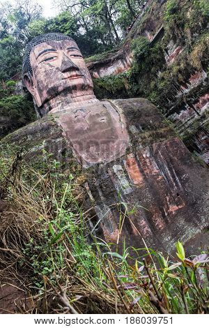 The Leshan Giant Buddha is a 71-meter 233 ft tall stone statue. Built between 713 and 803 during the Tang Dynasty. Sichuan province in China near the city of Leshan.