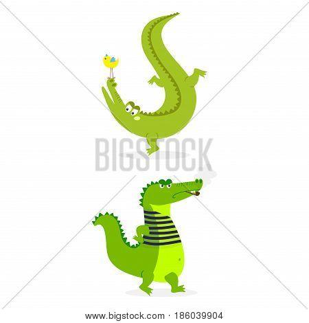 Cartoon green crocodile funny predator and australian wildlife river reptile carnivore alligator scales teeth flat vector illustration. Tropical africa safari zoo character crocodylus.