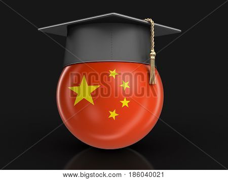 3d Illustration. Graduation cap and Chinese flag. Image with clipping path