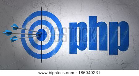 Success Software concept: arrows hitting the center of target, Blue Php on wall background, 3D rendering