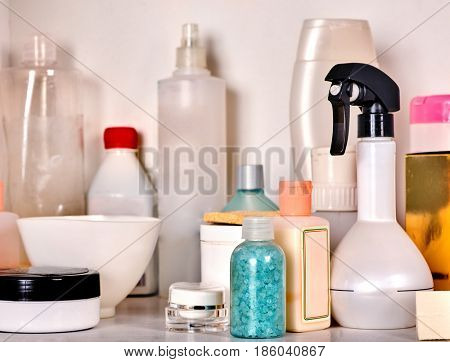 Cosmetics package of beauty products in cosmetic bottle. Packaging drugs for healthy. Still life of items for cosmetology. Natural methods and components to create, restore and maintain female beauty.