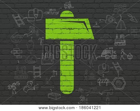 Building construction concept: Painted green Hammer icon on Black Brick wall background with Scheme Of Hand Drawn Construction Icons