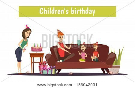 Kids birthday composition with dad, boy, girl on sofa cake on table gifts on floor vector illustration