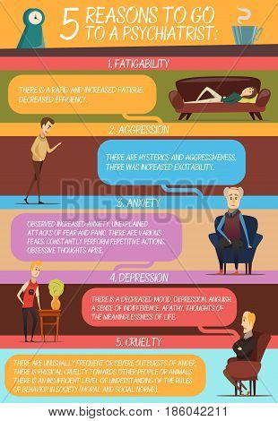 Infographics in flat style with reasons of visit to psychologist and persons with similar problems vector illustration