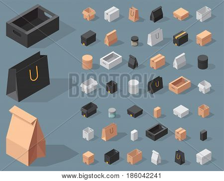 Different box vector isometric icons isolated move service or gift container packaging. Shop bag carton package paper take out pack and food jar relocation unfurnished illustration. poster