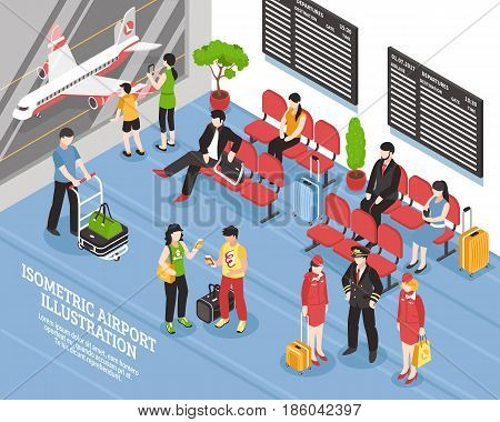 Airport departure waiting area lounge isometric poster with flight crew passengers and black display boards vector illustration