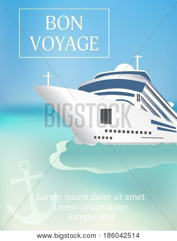 Cruise ship poster with «Bon Voyage» headline. Transatlantic liner ship anchor. Vector illustration.