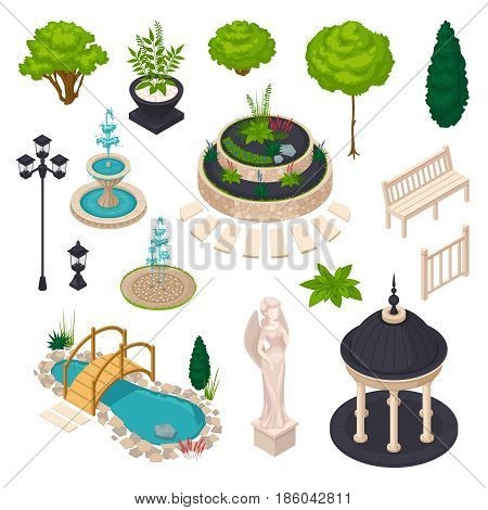 Isometric elements for city landscape constructor with bench gazebo statue streetlight flowerbed lake trees and bushes isolated vector illustration