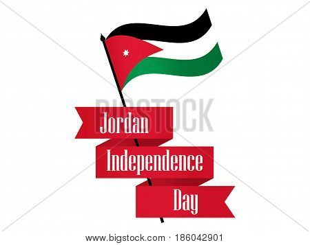 Jordan Independence Day. Ribbon And Jordan Flag Celebration Banner. Vector Illustration