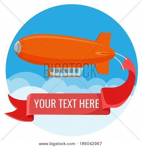 Advertising blimp in sky with clouds vector illustration isolated on white. Airship power-driven aircraft kept buoyant by body of gas helium with place for your text.