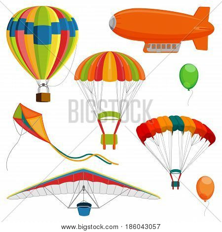 Set of blimp, paraglider and kite, air balloon and parachutes realistic vector illustration isolated on white background