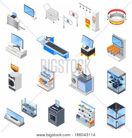 Electronics supermarket isometric icons collection with isolated household electrical appliances shop equipment and goods for sale vector illustration