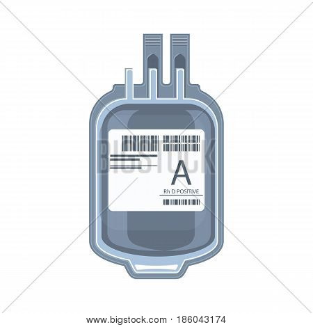 Plastic bag containing packed cells, blood donation or transfusion concept icon vector illustration isolated on white background