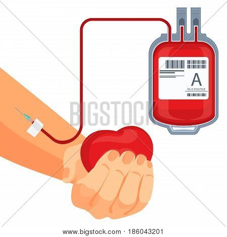 Process of blood donation human hand with red heart and plastic bag with bleed cells connected to arm by tubes vector illustration isolated
