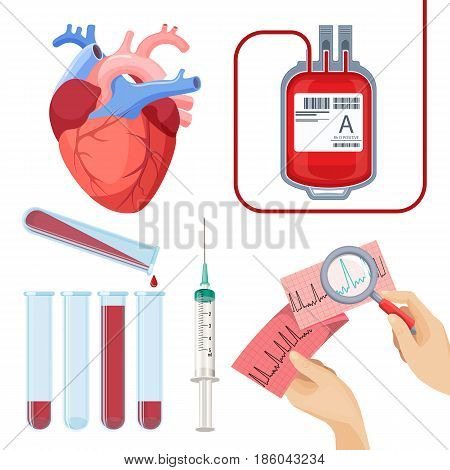 Donate blood concept vector illustration set. Donor service plastic bag , realistic heart, flasks and syringe, cardiogram in hands and magnifier