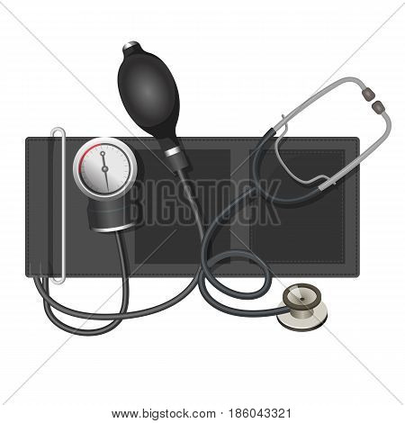 Auscultatory method aneroid sphygmomanometer with stethoscope, bulb, and air valve vector illustration isolated on white background