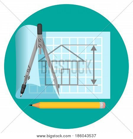 Blueprint icon with project of house on paper, compasses and pencil realistic vector illustration isolated on white background