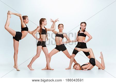 The kids dance school, ballet, hiphop, street, funky and modern dancers at studio