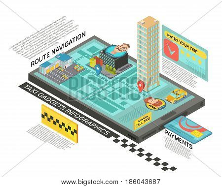 Taxi service online isometric infographics with route navigation on screen of gadget, payment and rating vector illustration