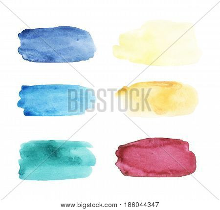 Watercolor brushstrokes set. Hand drawn vector collection with colorful stains, spots, smears, horizontal shape