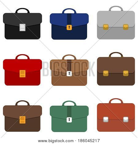 A set of briefcases of different colors. Briefcase businessman. Flat design vector illustration vector.