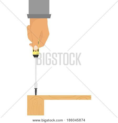 Screwdriver In Hand, Hand Twisting The Screw