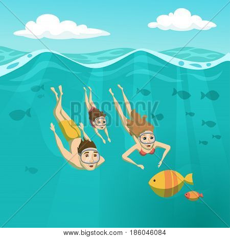 Family swimming underwater. Summer leisure. Holidays and travel in to the sea. Mom, Dad and daughter are snorkeling. Woman, man and their child are driving and looking at the fish. Sport and activity