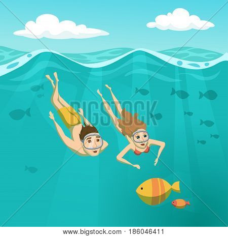 Couple swimming underwater. Summer leisure. Holidays and travel in to the sea. Man and woman are snorkeling. Young family are diving and looking at the fish. Sport and activity cartoon illustration
