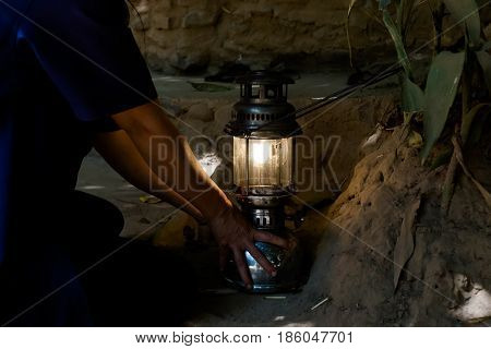 Firing Lamp In Lod Cave