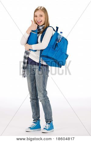 Thumbs Up Student Teenager Woman With Shoolbag Books